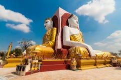 Bago,Myanmar-22 February 2014: kyikepun, four faces pagoda. Four face buddha statue , Kyaikpun paya in Bago, Myanmar Royalty Free Stock Images
