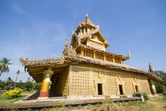 BAGO-MYANMAR-DECEMBER 27: Kambawza Thardi slott på December 27, 2015 i Bago, Myanmar Royaltyfria Foton