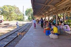 BAGO, MYANMAR - November 15, 2015: Hawkers selling goodies at th Stock Photos