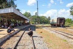 BAGO, MYANMAR - November 16, 2015:  Passengers waiting for the d Royalty Free Stock Image