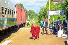 BAGO, MYANMAR - November 16, 2015: Passengers waiting for the train Royalty Free Stock Image