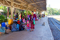 BAGO, MYANMAR - November 16, 2015: Passengers waiting for the train Stock Photography
