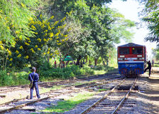 BAGO, MYANMAR - November 16, 2015: The daily train arriving at t Royalty Free Stock Photography