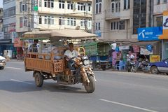 Bago. Traditional vehicle used for goods and people transportation along the street in Bago, Myanmar. Bago is a city and capital of Bagon Region. It is located royalty free stock images