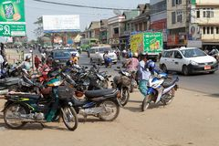 Bago. Urban traffic in Bago, Myanmar. Bago is a city and capital of Bagon Region. It is located 80 km north-east of Yangon royalty free stock photography