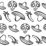 Bagout sans couture de fond dans le thème mexicain Photos stock