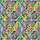 Bagout sans couture du méandre 3d principal grec coloré moderne intéressant Photo libre de droits