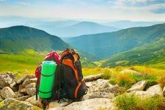 Bagpaks in the mountains Stock Photo