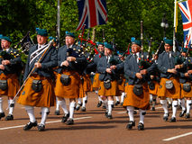 Bagpipe Band on parade. Stock Photos