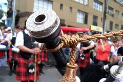 Bagpipe close-up at a concert Stock Image