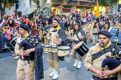 Bagpipe and drums musicians - Participants of Christmas Parade. NAZARETH, ISRAEL - DECEMBER 23, 2017: Bagpipe and drums musicians - Participants of annual stock images