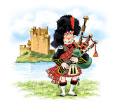 Bagpipe kilt skirt castle bear hat Stock Photo
