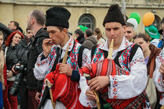 Bagpipe singers on the Irish festival in Bucharest , Romania. Singers on the Irish festival on street festival in Bucharest Stock Image