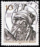 The Bagpiper, Albrecht Dürer, serie, circa 1971. MOSCOW, RUSSIA - FEBRUARY 20, 2019: A stamp printed in Germany, Berlin, shows The Bagpiper, Albrecht Dürer stock image