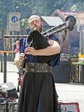Bagpiper of the Bohemian bards. At the Wenzelsplace, Prague, Czech Republic royalty free stock photography