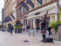 Bagpiper, Buchanan ulica, Glasgow Fotografia Royalty Free