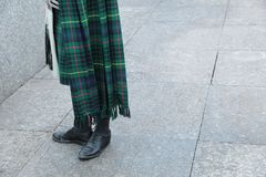 Bagpiper in Kilt and Sporran. Scottish bagpiper in kilt sporran and brogues stock photos