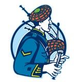 Bagpiper kobz szkot Retro ilustracji