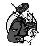 Bagpiper kobz szkotu Grayscale Retro royalty ilustracja