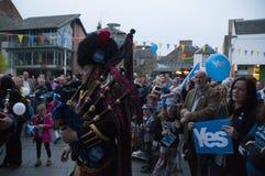 Bagpiper Schotse Indy Ref 2014 Royalty-vrije Stock Afbeeldingen