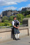 Bagpiper w Edynburg, Szkocja Obraz Stock