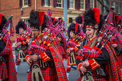 Bagpipers of the Kiltie Band of York stock photos