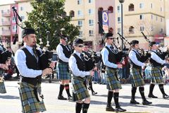 Bagpipers march and play in the Los Angeles Chinese New Year Parade stock images