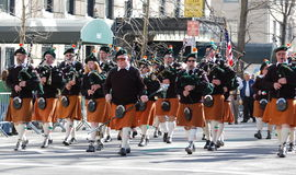 Bagpipers in New York City Saint Patrick's Parade Stock Photo