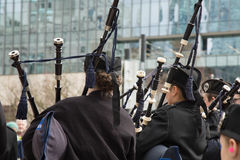 Bagpipers orchestra young musicians Royalty Free Stock Images