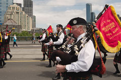 Bagpipers at parade in Melbourne Stock Images