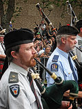 Bagpipers Playing Bagpipes Royalty Free Stock Photography
