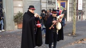 Bagpipers playing traditional songs on the streets of Naples stock video footage