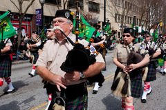 Bagpipes Corps Performs In St. Patrick's Parade Stock Photos