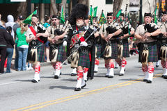 Bagpipes Corps Plays In St. Patrick's Parade Royalty Free Stock Image