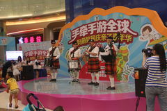 Bagpipes display team are the performance in the SHENZHEN Tai Koo Shing Commercial Center Stock Photography