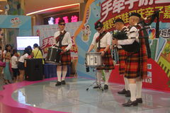 Bagpipes display team in the SHENZHEN Tai Koo Shing Commercial Center Royalty Free Stock Photography