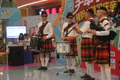 Bagpipes display team in the SHENZHEN Tai Koo Shing Commercial Center Royalty Free Stock Photos
