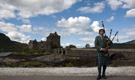 Bagpipes at Eilean Donan Castle Stock Image