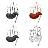 Bagpipes icon in cartoon style isolated on white background. Musical instruments symbol stock vector illustration Royalty Free Stock Image