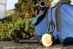 Bagpipes Mouthpiece and Chanter. With busker bag stock photography