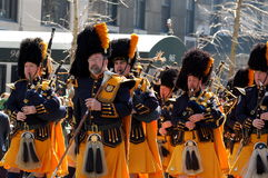 Bagpipes in New York's St. Patrick's Day Parade. A bagpipe band marches down 5th Avenue in the New York City Saint Patrick's Day Parade Royalty Free Stock Photos