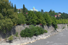 Bagrati Cathedral on the high bank of Rioni River in Kutaisi stock images