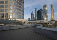 Bagration Bridge. Business Center Moscow City. Royalty Free Stock Photography