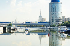 Bagration Bridge through Moskva river in Moscow Stock Image
