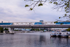 Bagration Bridge over the Moskva River Royalty Free Stock Photo