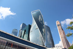 Bagration Bridge and Skyscrapers of business center Moscow City Royalty Free Stock Images