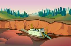 Bagrownica łupu kopalnictwo, wektorowa ilustracja Zdjęcie Stock