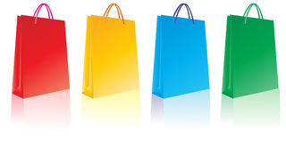 Bags. Different colored shopping bag symbols Stock Photo