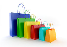 Bags. Three-dimensional models of paper bags for shopping on a white background Royalty Free Stock Image