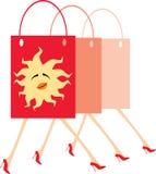 Bags. Vector image of few walking handbags Stock Photos